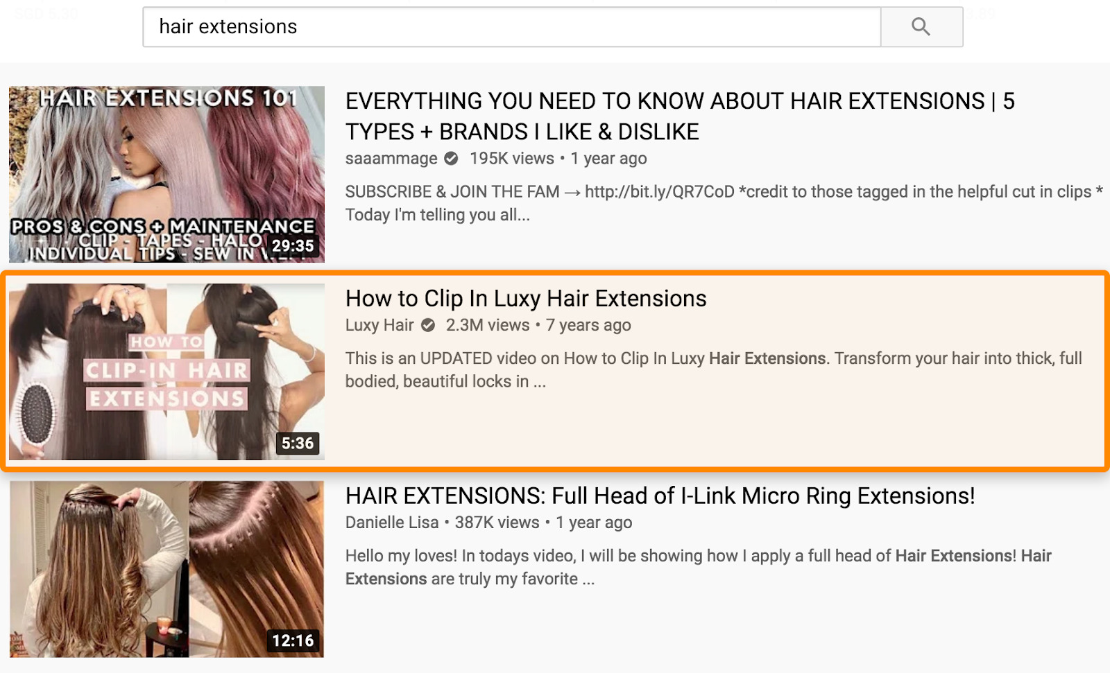 6 résultats de recherche YouTube