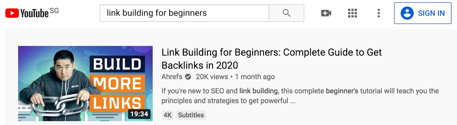 création de lien youtube ahrefs 1